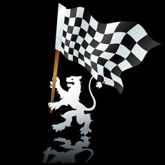 heraldic lion with formula one flag