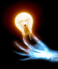 x-ray hand holding a bulb