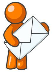 Orange Man Holding Envelope