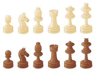 Chess pieces isolated on white