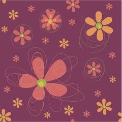 Seamless background with funky flowers