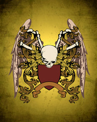 vintage winged skull crest