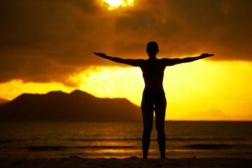 balanced at sunset