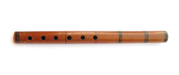 Pipe wooden traditional musical wind instrument