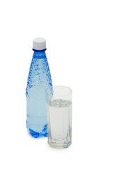Bottle of water and glass isolated on the white