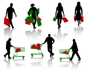 Silhouettes of people with purchases.