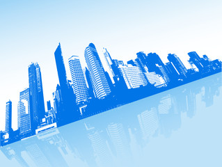 City with blue background. Vector