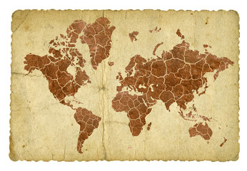 Cracked and dry earth map on vintage background.