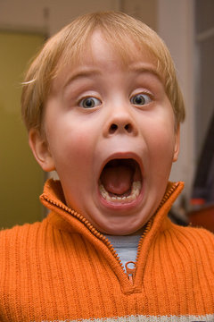 amazed child with mouth wide open