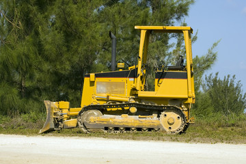 A small bulldozer parked for the weekend