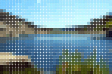 landscape solid colored rounded rectangles mosaic effect