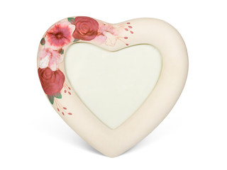 Heart shaped frame with flowers