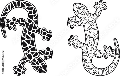 Gecko mosa que vectoriel fichier vectoriel libre de - Dessin mosaique a imprimer ...