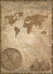 old paper with compass and map.