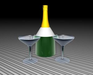Sektflasche mit Gläsern