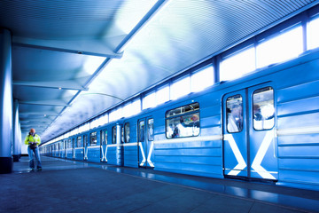 Blue train at subway