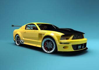 Fototapeta premium Żółty samochód wyścigowy