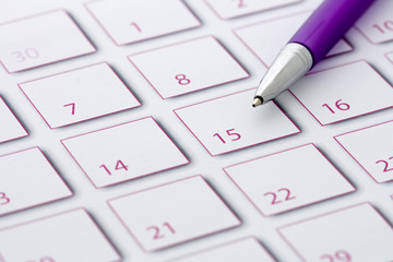 Purple Pen on purple calendar