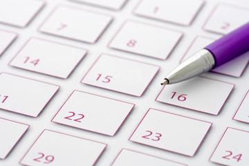Purple Pen on purple calendar