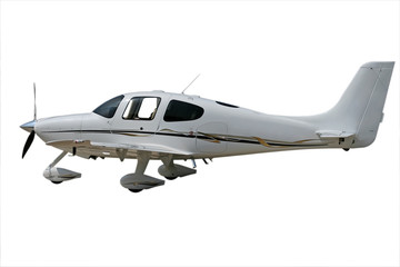 isolated white propeller plane with clipping path