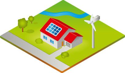 Haus mit Solarzellen und Windkraftanlage - Isometrie