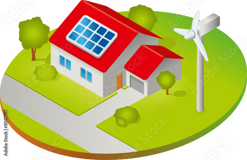 haus mit solarzellen und windkraftanlage isometrie stockfotos und lizenzfreie vektoren auf. Black Bedroom Furniture Sets. Home Design Ideas