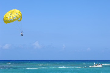 Parasailing over the caribbean sea.