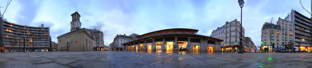 360° panorama of Aligre market place twilight