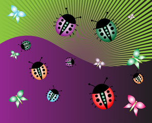 Abstract illustration with ladybirds and butterflies