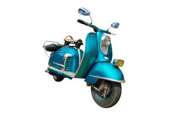 Fotorolgordijn Scooter vintage blue scooter isolated