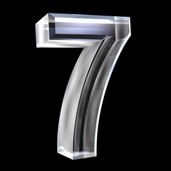 3d number 7 in glass