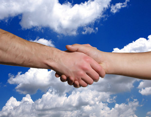 shake hands and sky