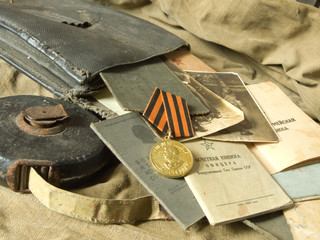 Old army bag and antiques army documents