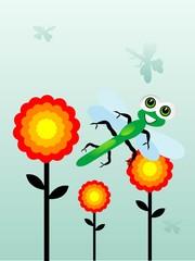 dragonfly near flowers