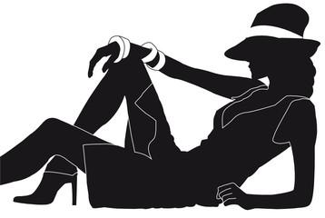 Dame mit Hut seitlich