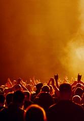 Musikfans in warmem Licht
