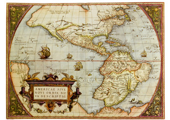 Ancient map of the Americas. Photo from old reproduction