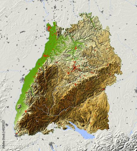topographische karte baden württemberg kostenlos Reliefkarte von Baden Württemberg. Farbgebung nach Vegetation