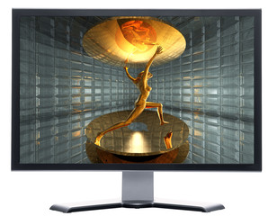 monitor with 3d virtual girl