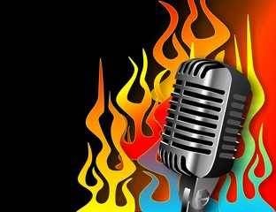 Microphone with Hot Rod Flames