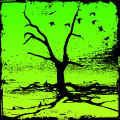 tree with birds and grunge