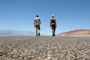 Walking away in Death Valley
