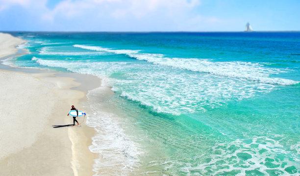 Surfer at Seashore