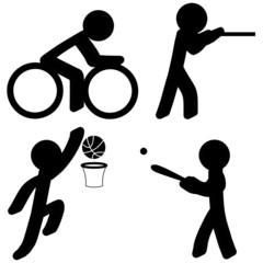Sports Icons (Cycling/Shooting/Basketball/Baseball)