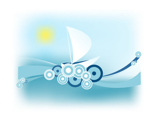 abstract retro illustration with a sailing boat