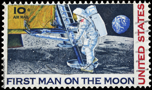 First Man On The Moon Postage Stamp