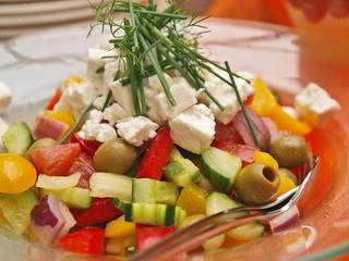 vorspeise,büffet,mediterranesalat mit schafskäse,vegetarisch