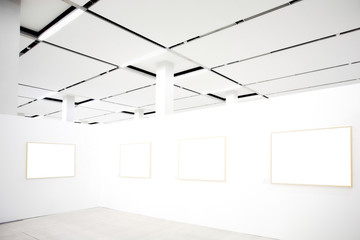 walls in museum with frames