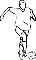Vektor Illustration Fußball Spieler mit Ball im Training