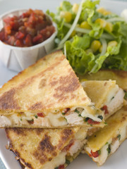 Quesadillas with Chicken, Cheese and Tomato Salsa